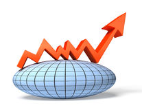 Global economic chart. Finance 3d illustration Stock Photography