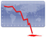 Global Economic Crisis. Chart illustrating the world's financial crisis Stock Photo