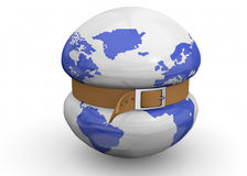 Global economic crisis - 3d. One Belt Embrances the World Stock Photo