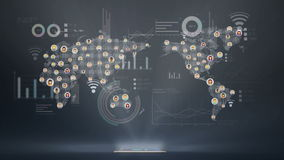 Global economic graph various diagram, connection people, social media service using smart phone. stock video