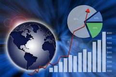 Global economy. Abstract financial chart, graph and global economy Royalty Free Stock Image