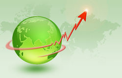 Global economy. Of a glass globe sitting on top of a detailed chart and arrow Stock Images