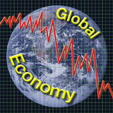 Global Economy. Type graphic with chart and globe Stock Photos