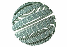 Global economy. American dollar bills arranged in a spherical fashion symbolizing the global economy stock illustration