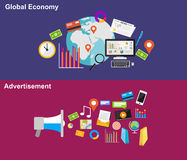 Global economy and advertisement illustration concepts. Vector of Global economy and advertisement flat design illustration concepts Stock Images