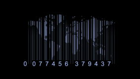 Global economy concept. World map as a barcode. world map as bar-code stock video