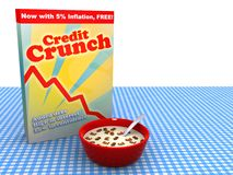 The global economy in credit crunch. Abstract image of bowl of cereal called Credit Crunch stock illustration