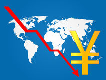 Global Economy Crisis Yen Royalty Free Stock Photos