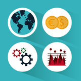 Global economy design. Global economy concept and business icons design, vector illustration 10 eps graphic Stock Image