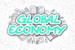 Global Economy - Doodle Green Word. Business Concept. Royalty Free Stock Image