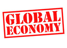 GLOBAL ECONOMY. Red Rubber Stamp over a white background Royalty Free Stock Photography