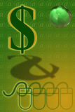 Global Economy and Technology. Dollar Sign, Mouse, Email sign, and Green Globe Stock Image