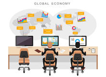 Global economy or world economy. Business people monitoring international economy. Concept for web banner, web element, or infographics Royalty Free Stock Images