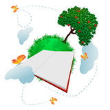 Global education. Green planet with apple tree big blank open book in front of it and lovely butterflies Royalty Free Stock Photography