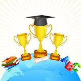 Global Education. Vector illustration of gold trophy and book on Earth Stock Images