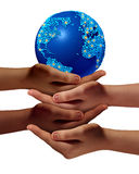 Global Education Community. As children learning and development concept with a group of hands representing ethnic groups of young people cooperating together Stock Photography