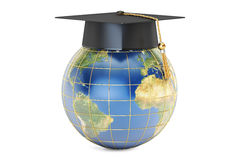 Global education concept, Earth with graduate cap. 3D rendering Royalty Free Stock Images