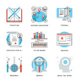 Global education elements line icons set Stock Photo