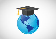 Global education. Globe showing mainly north and south America with a mortar board with yellow tassel on top, white background royalty free illustration