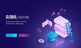 Global Education landing page or hero image with 3D illustration. Of man climbing on books through ladder for learning or success concept Stock Photography