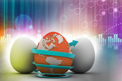 Global egg rounded with arrow Royalty Free Stock Images