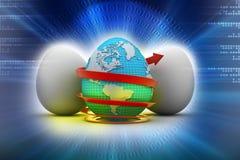 Global egg rounded with arrow Stock Photos
