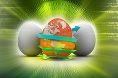 Global egg rounded with arrow Stock Photos