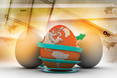 Global egg rounded with arrow Stock Photography