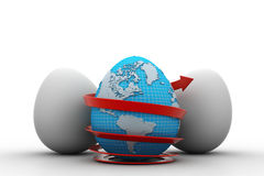 Global egg rounded with arrow Stock Photo