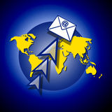 Global email. An image of the world globe showing the earth in flat form. The image is for the concept of global email and has an email envelope with the @ Stock Photography