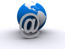 Global email. Three dimensional illustration of world globe with email at sign; global internet concept Royalty Free Stock Images
