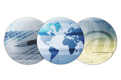 Global Email. A conceptual illustration of three globes with earth and the center and two other globes having a letterpad, pen and email sign Stock Photo