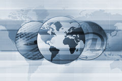 Global Email Background. A conceptual illustration of three globes with earth and the center and two other globes having a letterpad, pen and email sign on a Royalty Free Stock Image