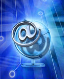 Global Email Technology Network Services. A metal email alias symbol or at sign with a computer circuit board background and a world Globe Royalty Free Stock Image