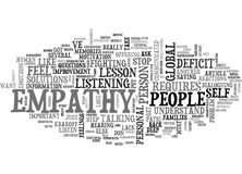 A Global Empathy Deficit Lessons Word Cloud Stock Image