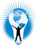 Global Energy Crisis. Illustration of a man holding up a globe inside a light bulb Royalty Free Stock Photos