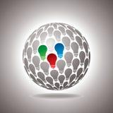Global energy idea. Saving energy icon with light bulb and planet Earth Stock Photos