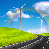 The Global Environment. Wind turbines Royalty Free Stock Photos
