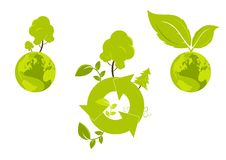 Global environment graphic. With symbol of recycling vector illustration