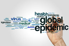 Global epidemic word cloud. Concept on grey background Stock Photos