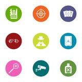 Global espionage icons set, flat style. Global espionage icons set. Flat set of 9 global espionage icons for web isolated on white background royalty free illustration