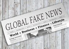 Global Fake News Newspaper Stock Image