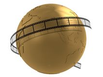 Global film. 3d rendered illustration of a golden globe and a stripe Stock Photos