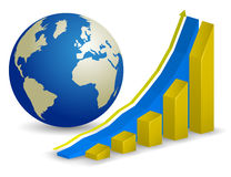Global finance. Growth Chart with world map on background Stock Image