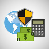 Global finance banking safe shield protection Stock Photo