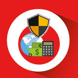 Global finance banking safe shield protection Royalty Free Stock Images