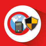 Global finance banking safe shield protection Royalty Free Stock Image