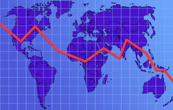 Global finance chart, descending. Finance chart descending. Map of the world in the background Royalty Free Stock Photo