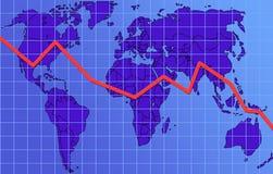 Global finance chart, descending Royalty Free Stock Photo