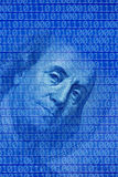 Global finance. Conceptual image of hundred dollar bill and binary code Stock Photo